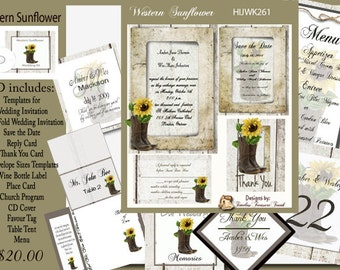 Rustic Cowboy Boots Sunflowers  Wedding Template Kit on CD