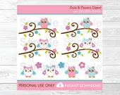 Girl Owl Clipart / Pink O...
