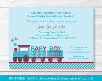 Cute Choo Choo Train Baby Shower Invitation / Train Baby Shower Invite / Blue & Red Train / Boy Baby Shower / INSTANT DOWNLOAD Editable PDF