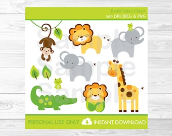 Safari Jungle Animal Clipart PERSONAL USE Instant Download