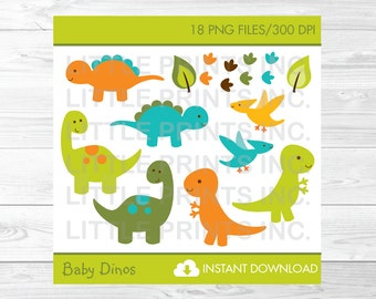 Cute Dinosaur Clipart / Dinosaur Baby Shower Clipart / Dinosaur Birthday Clipart / PERSONAL USE Instant Download / A173
