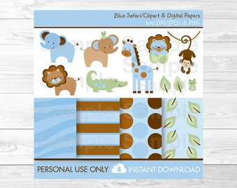 Cute Jungle Animal Clipart / Jungle Animal Digital Paper / Safari Animals / Safari Baby Shower / Blue / PERSONAL USE Instant Download