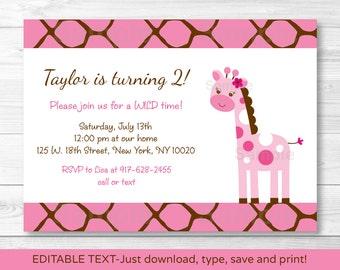 Cute Pink Giraffe Birthday Invitation / Giraffe Birthday Invite / 1st Birthday / 2nd Birthday / Any Age / INSTANT DOWNLOAD Editable PDF