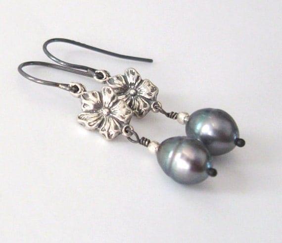 Gray Freshwater Pearl Sterling Silver Earrings, Art Nouveau Violet,  Petite Dangle