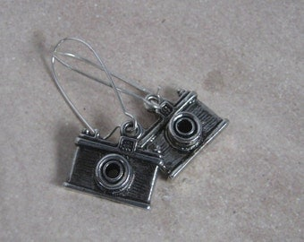 Antique Silver Camera Dangle Earrings