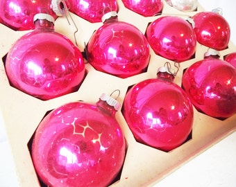 Vintage Shiny Brite Ornaments  Made in USA- Raspberry Red Silver Christmas in July
