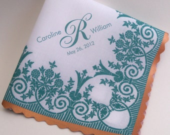 Personalized wedding handkerchief with printed lace, teal and copper wedding, customized wedding favor