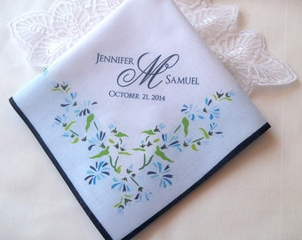 Something blue wedding handkerchief, personalized monogrammed hankerchief, printed handkerchief, wedding favor