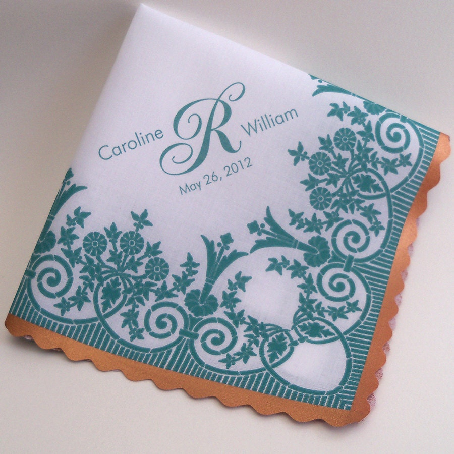 Personalized Wedding Handkerchief With Printed Lace Teal And