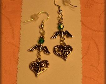 Turquoise Crystal Angel Heart Earrings