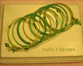 Light to Medium Spring Green, Pearl and Crystal Memory Wire Bracelet