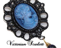 SALE Victorian Inspired Small Black Brooch Blue Cameo Victorian Lady and Handmade Glass Dangle AA033