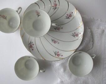 Vintage Yamaka China Pink Gray Floral Tea Set for Four - Cottage Chic