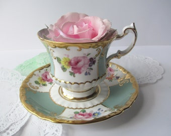 Teacup and Saucer Paragon Green Pink Floral English Bone China - Vintage Chic Tea Party