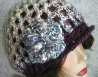 Womens Crochet Hat Pattern With Flower Trim Slightly Slouch Style Easy To Make Instant Download Crochet Hat Patter