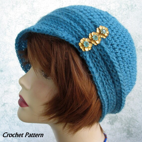 Crochet Cloche Hat Brim Pattern : Womens Crochet Hat Pattern Cloche With Ribbing And Small Brim