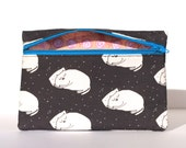 Sleepy Cat Blue Zipper Pouch - Limited Edition