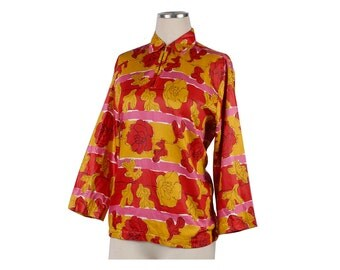 Vintage 60s Blouse - 60s Floral Blouse - Floral - Pop Art - 60s Tunic - 60s Shirt - Red Pink Mustard Yellow - Large Blouse - Vera Style