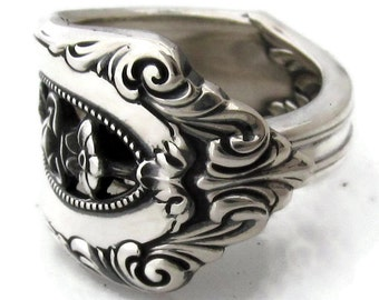 Sterling Silver Spoon Ring Size 6 - 10 Rose Point Wallace