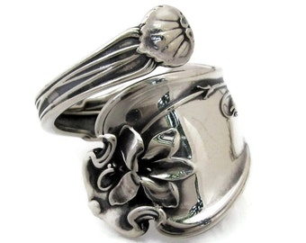 Whiting Violet 1905 Sterling Silver Spoon Ring Art Nouveau