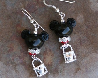 Sterling Silver Lock Charms and Lampwork Glass Disney Inspired Mickey Mouse Style DeSIGNeR Earrings Disneyland Magic
