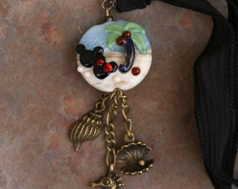 Gorgeous Tropical Disney Inspired Lampwork DeSIGNeR Hand Dyed Silk Necklace Mickey Minnie Mouse Style Cruise Castaway Cay Cruise Vacation