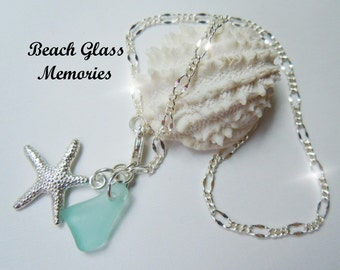 Aqua Sea Glass Anklet Beach Glass Chain Anklet -  Seaglass Anklet