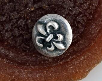 Fleur de Lis Button Silver Plate