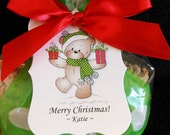 Personalized Christmas Gift Tags, teddy bear with green dotted scarf and hat, set of 24
