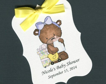 Personalized Baby Shower Favor Tags, teddy bear with purple bow, set of 40
