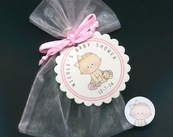 Personalized Baby Girl Baby Shower Favor Candy Bags, Baby Girl With Toys, Includes Tags, Candy Stickers, Pink Organza Bags, Set of 40