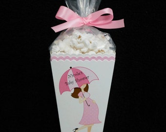 Mom To Be Baby Shower Popcorn Box Favor Boxes, pink dress dark hair, set of 25 includes plastic bags and ribbon ties