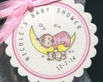Personalized Baby Shower Favor Tags, baby girl sleeping on the moon, set of 25 round scallop tags