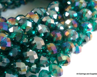 36 Teal Glass Rondelle Bead AB Faceted Abacus 8x6mm - 36 pc - G6039-TL36