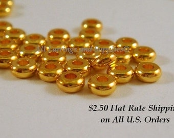 50 Gold Spacer Bead 4x1.9mm Gold Plated Brass - 50 pc - 5918-7