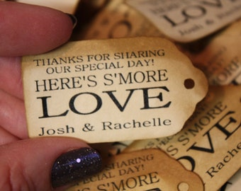 "Smore Love Choose your quantity SMALL 2"" Favor Tag type the names you would like on your tag in the notes to seller area at checkout"