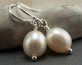 9 pairs of Freshwater Pearl Earrings White Pearl Earrings. Wedding Jewelry. June Birthstone Earrings Simple Drop Earrings Sterling Silver