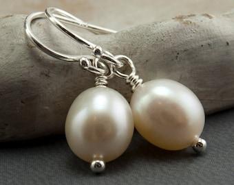 4 pairs of Freshwater Pearl Earrings White Pearl Earrings. Wedding Jewelry. June Birthstone Earrings Simple Drop Earrings Sterling Silver