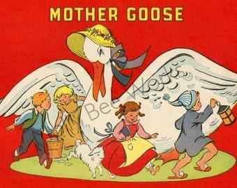 Mother Goose Vintage Graphics & Illustration Instant Digital Download