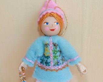 Felt Art Doll Hanging Ornament Pastel Blue and Pink Pixies Spring Decoration