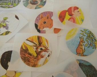Vintage Children illustrations stickers/seals
