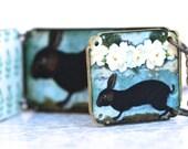 Peek A Boo Bunny Bunny Necklace - Bunny Necklace - Bunny Jewelry - Bunny - Animal Jewelry - Aqua Jewelry - Easter - Shrink Plastic - Aqua