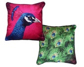 Set of 2 cushion covers for throw pillow - Set with Peacock and Peacock Feathers - 16x16inch // 40x40cm