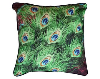 Cushion cover for throw pillow with bird - Peacock Feathers - 16x16inch // 40x40cm