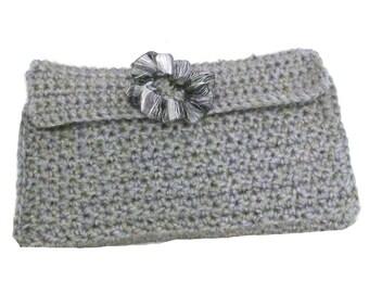 Grey Crocheted Handbag Womens Fashion Accessories Grey Crocheted Clutch Purse Cosmetic Bag