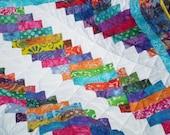 Modern Baby Quilt-Baby boy quilt,baby girl quilt,Patchwork crib quilt,Batik Scrap Quilt-Lap quilt-Playmat-Crib quilt-Modern-Batik Stair Step