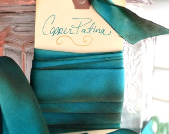 Copper Patina-Hand Dyed Silk Ribbon by Hanah Silk 1 inch wide