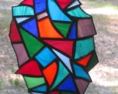 Stained Glass Suncatcher Panel - Abstract in Multicolor