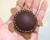 Winny the Turtle Thick Leather Charm ( Brown )