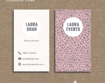 Printable stylish elegant retro,  animal print business card, calling card for your business in a choice of 3 colous